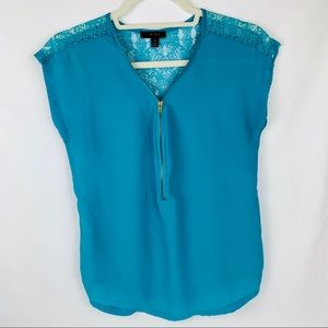Front zip Blouse with Lace Back by mine